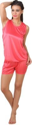 Fasense Fashion Women's Solid Pink Top & Shorts Set at flipkart
