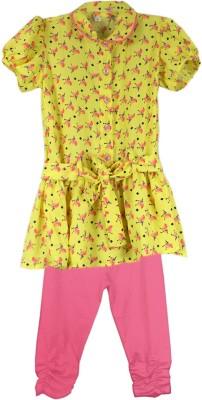 SSMITN Girl's Animal Print Yellow Top & Pyjama Set