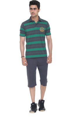Colors & Blends Capri Suit Mens Striped Grey T-shirt & Three-forth Set