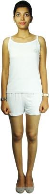 Bluedge Women's Solid White Top & Shorts Set