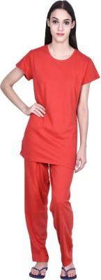 PRO Lapes Women's Solid Red Top & Pyjama Set