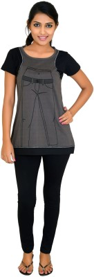 CKL Women's Solid Black Top & Pyjama Set