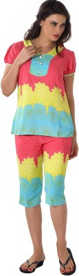 Shyle Women's Printed Multicolor Top & Capri Set