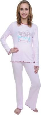Wemei Women's Solid Pink Top & Pyjama Set