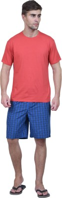 Habitude Men's Solid, Checkered Red Top & Shorts Set