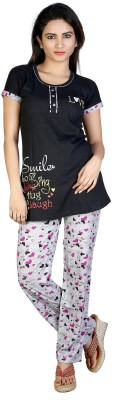 F FASHIONSTYLUS Women's Printed Black Top & Pyjama Set