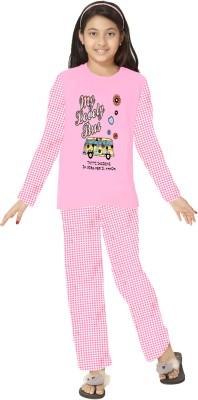 So Sweety Girl's Solid Pink Top & Pyjama Set