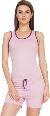 SOIE Women's Solid Pink, Purple Top & Shorts Set