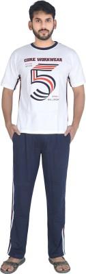 Speed Ball Men's Printed White, Blue Top & Pyjama Set