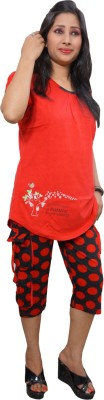 Indiatrendzs Women's Printed Red, Black Top & Capri Set