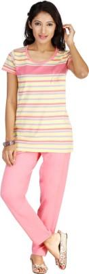 New Darling Women's Striped Pink, Yellow Top & Pyjama Set