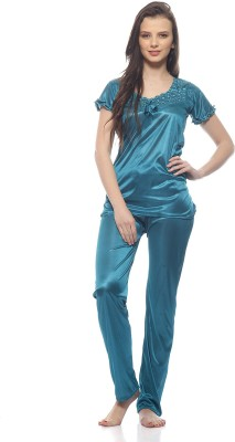 Ethnic Route Women,s Solid Blue Top & Pyjama Set