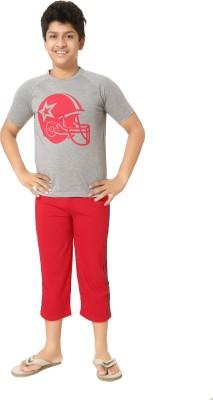Elite Boy's Printed Grey, Red Top & Capri Set