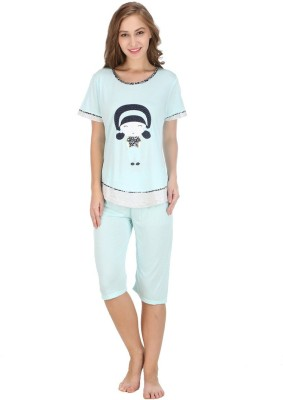 Camey Women's Self Design Blue Top & Capri Set