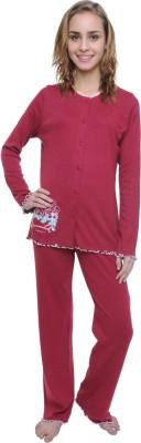 Wemei Women's Solid Maroon Top & Pyjama Set
