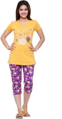 Meei Women's Printed Gold Top & Capri Set