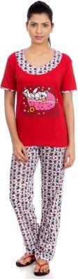 Night Fashion Women's Printed Multicolor Top & Pyjama Set