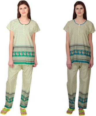 Simrit Women's Printed Green, Blue Top & Pyjama Set