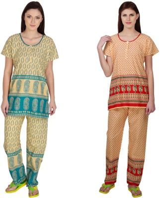 Simrit Women's Printed Green, Red Top & Pyjama Set