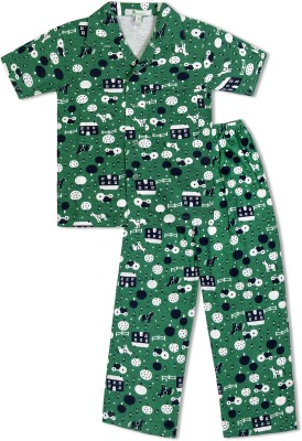 Green Apple Boy's Printed Dark Green Top & Pyjama Set