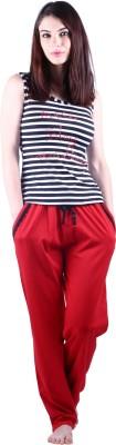 Vixenwrap Women's Printed White, Red Top & Pyjama Set