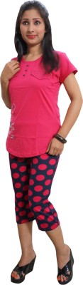 Indiatrendzs Women's Printed Pink Top & Capri Set