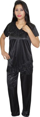 Indiatrendzs Women's Solid Black Top & Pyjama Set