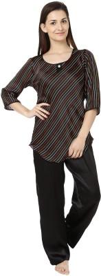 She N She Women's Striped Black Top & Pyjama Set