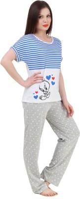 BrandMeUp Women,s Printed Blue Top & Pyjama Set