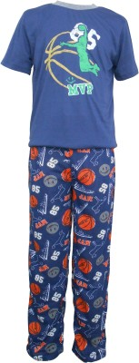 Sweet Dreams Men's Solid Dark Blue Top & Pyjama Set