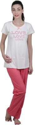 Vixenwrap Women's Polka Print White, Pink Top & Pyjama Set