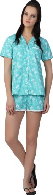 Liwa Nightwear Women's Printed Blue Top & Shorts Set