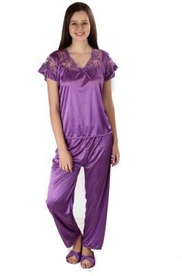 Se Deplace Women's Solid Purple Top & Pyjama Set