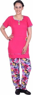 Di Tutti Women's Printed Pink Top & Pyjama Set