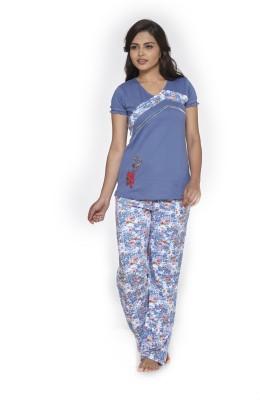 Melodie Women's Printed Blue, Blue Top & Pyjama Set