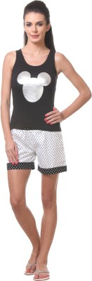 Tweens Women's Printed Black Top & Shorts Set