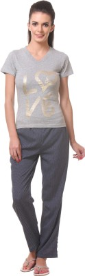Tweens Women's Printed Grey Top & Pyjama Set