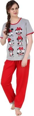BrandMeUp Women,s Printed Red Top & Pyjama Set