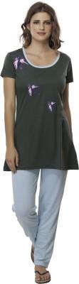 Second SKIN Women's Animal Print Multicolor Top & Pyjama Set