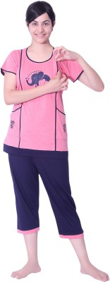 O Baby Feeding Women's Polka Print Multicolor, Multicolor Top & Pyjama Set