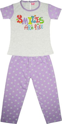 Myfaa Girl's Printed Green, Purple Top & Pyjama Set