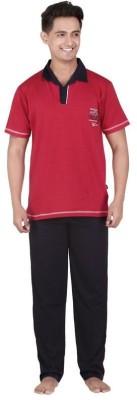 Inter Creation Men's Striped Red Top & Pyjama Set