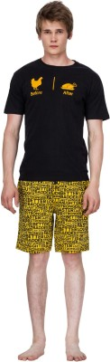 Nuteez Men's Printed Black Top & Shorts Set