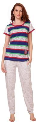 Demoda Women's Striped Grey Top & Pyjama Set