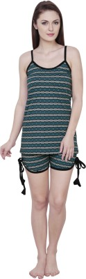 Claura Women's Striped Green Top & Shorts Set