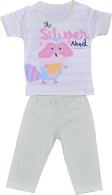Johny Johny Yes Papa Baby Boy,s Self Design White Top & Pyjama Set