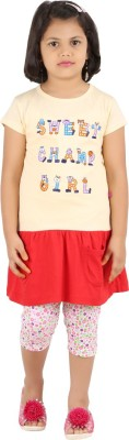 SPN Garments Girl,s Printed Yellow, Pink, Red Top & Capri Set