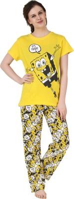 BrandMeUp Women,s Printed Yellow Top & Pyjama Set