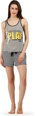 The Boxer Store Women's Printed Black Top & Shorts Set
