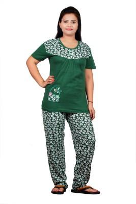 UNO COTTON Women's Printed Green Top & Pyjama Set